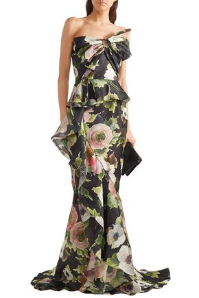 a6095256987c MARCHESA Bow-embellished floral-print silk-moire gown