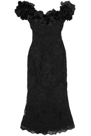 MARCHESA Off-the-shoulder floral-appliquéd lace midi dress