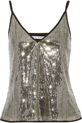REBECCA MINKOFF Nora crepe-trimmed sequined tulle camisole