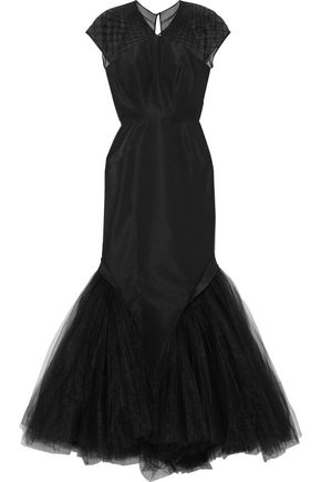 ZAC POSEN Faille-paneled pintucked silk-tulle gown