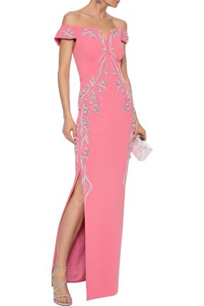 520437b87ba ZAC POSEN Off-the-shoulder embellished crepe gown