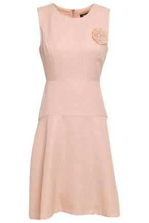 DKNY Brooch-embellished tweed mini dress