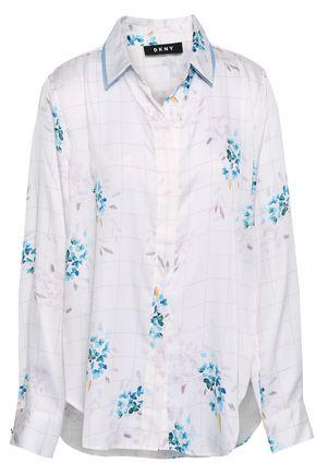 DKNY Printed crepe de chine shirt