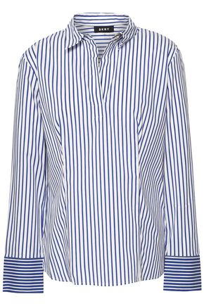 DKNY Striped cotton-blend poplin shirt