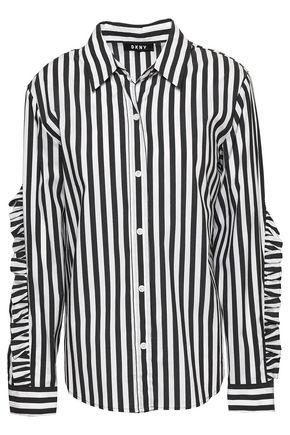 DKNY Ruffle-trimmed striped cotton-blend poplin shirt