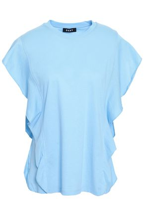 DKNY Ruffled cotton-terry top