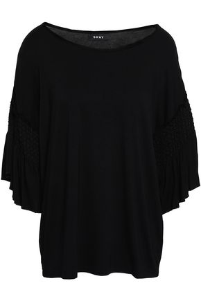 DKNY Shirred jersey top