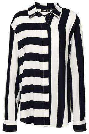 DKNY Paneled striped crepe de chine shirt