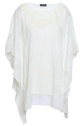 DKNY Draped fil coupé georgette blouse