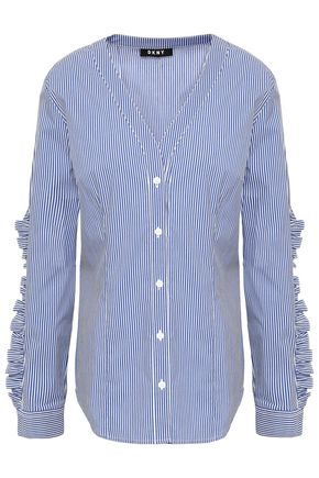 DKNY Ruffle-trimmed striped cotton-blend poplin shirt