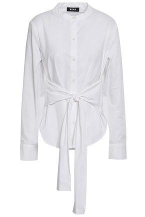 DKNY TIe-front cotton-blend poplin shirt