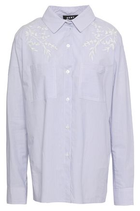 DKNY Embroidered striped cotton-poplin shirt