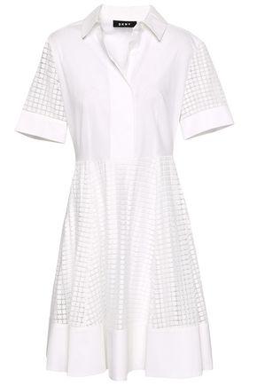 DKNY Cotton-blend poplin and guipure lace mini dress