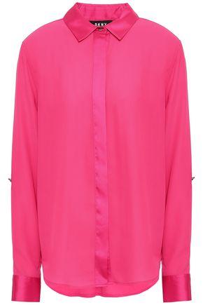 DKNY Satin-trimmed crepe shirt