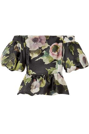 MARCHESA Off-the-shoulder floral-print silk-moire peplum blouse