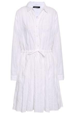 DKNY Gathered cotton-gauze mini shirt dress
