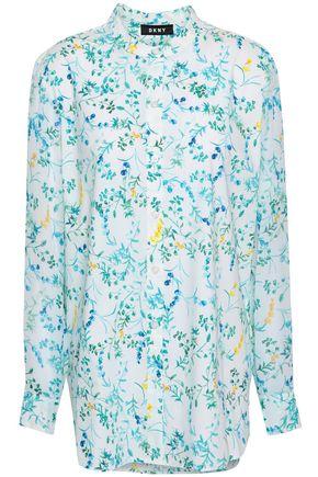 DKNY Floral-print stretch-cotton shirt