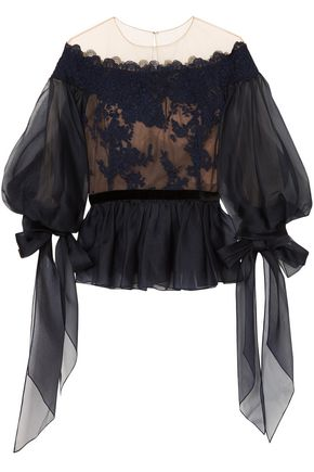 MARCHESA Corded lace-appliquéd tulle and organza peplum blouse