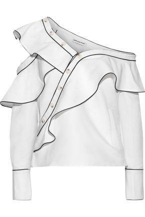 SELF-PORTRAIT One-shoulder button-detailed ruffled faille top