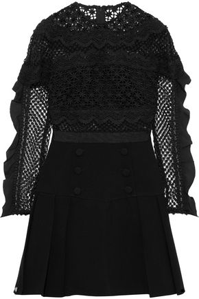 SELF-PORTRAIT Ruffle-trimmed guipure lace and cady mini dress