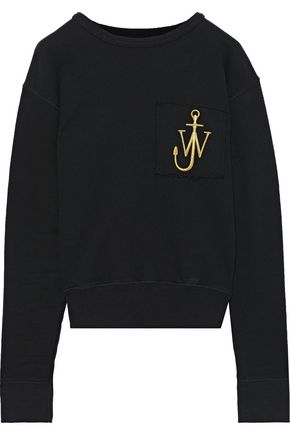 J.W.ANDERSON Embroidered French cotton-terry sweatshirt