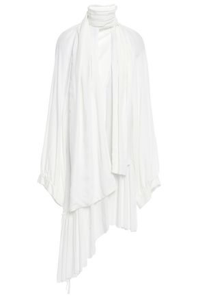 ANN DEMEULEMEESTER Draped frayed woven mini dress