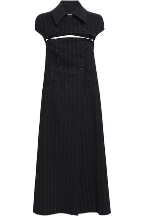 ANN DEMEULEMEESTER Convertible pinstriped linen-blend midi dress