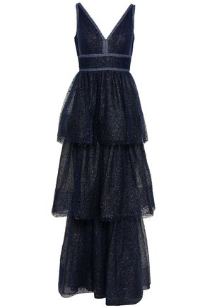 MARCHESA NOTTE | Marchesa Notte Tiered Embellished Metallic Tulle Gown | Goxip