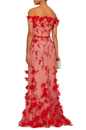 MARCHESA NOTTE Off-the-shoulder floral-appliquéd embroidered point d'esprit gown