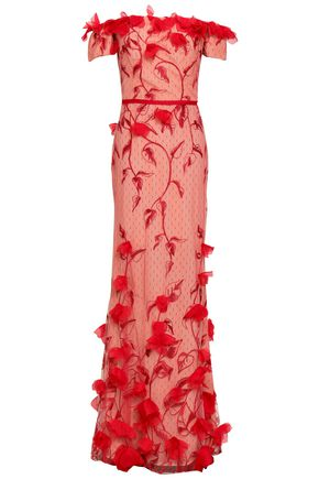 MARCHESA NOTTE | Marchesa Notte Off-The-Shoulder Floral-Appliquéd Embroidered Point D'Esprit Gown | Goxip