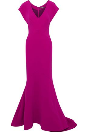 ZAC POSEN Fluted crepe gown