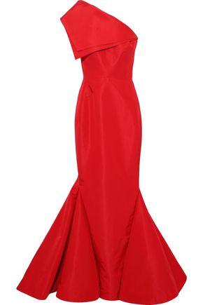 ZAC POSEN One-shoulder fluted silk-faille gown