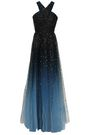MARCHESA NOTTE Cutout glittered dégradé tulle gown