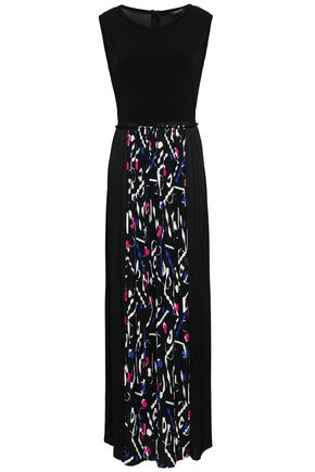 DKNY Pleated printed crepe de chine and cady maxi dress