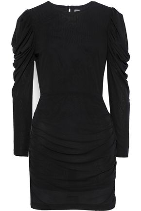 REBECCA MINKOFF Sofia ruched mesh mini dress