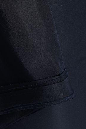ZAC POSEN Strapless draped silk-faille gown