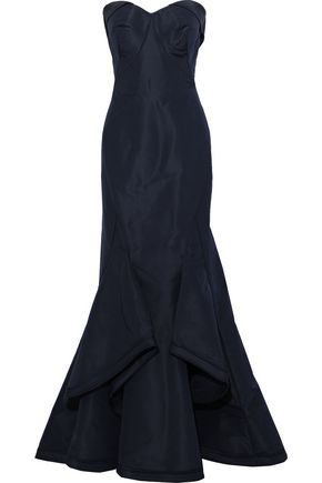 ZAC POSEN Strapless draped silk-faille gown
