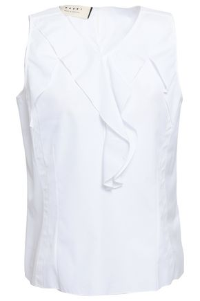 MARNI Ruffled cotton-poplin top
