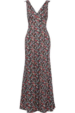ZAC POSEN Fluted floral-print cotton-poplin gown