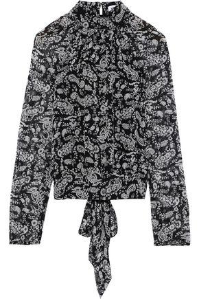 REBECCA MINKOFF Zariah tie-back printed georgette top