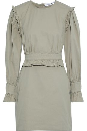 REBECCA MINKOFF Paislee ruffle-trimmed cotton-twill mini dress