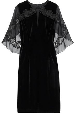 ELIE TAHARI Essence draped chiffon-paneled velvet mini dress