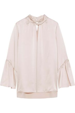 ELIE TAHARI Laraib twist-front silk-satin blouse