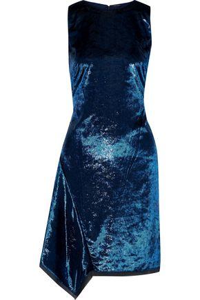ELIE TAHARI Serenity asymmetric metallic velvet dress