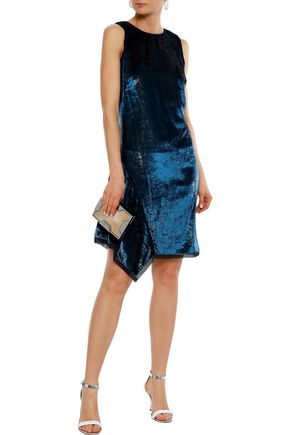 Elie Tahari Woman Serenity Draped Metallic Crushed-Velvet Mini Dress Navy
