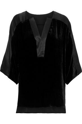 ELIE TAHARI Nolia satin-trimmed velvet blouse
