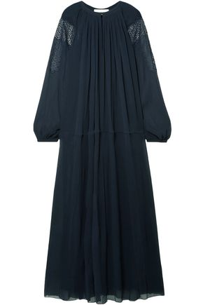CHLOÉ Crochet-trimmed silk-georgette maxi dress