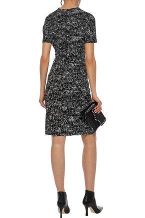 BOTTEGA VENETA Wrap-effect printed stretch-crepe dress
