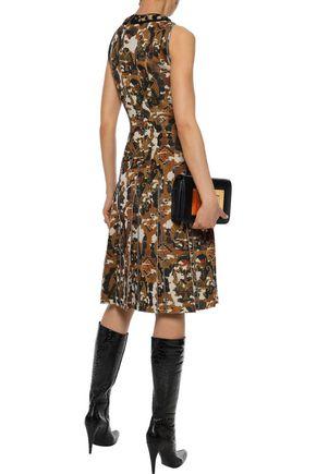 BOTTEGA VENETA Embellished printed shearling-trimmed scuba dress