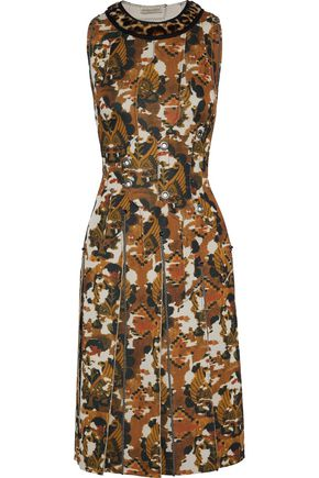 BOTTEGA VENETA Embellished printed shearling-trimmed scuba dress